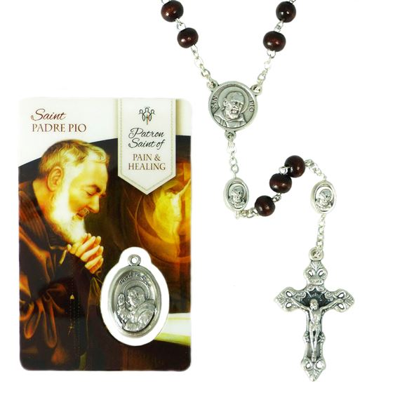 PADRE PIO ROSARY AND HEALING SAINT HOLY CARD