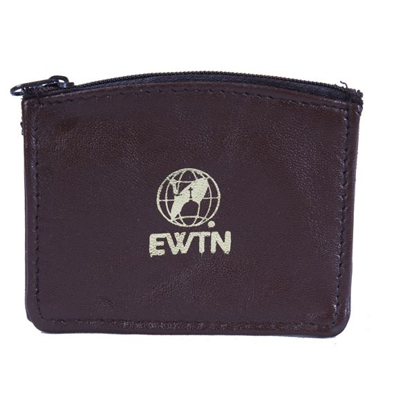 EWTN SHEEPSKIN ROSARY POUCH - BROWN