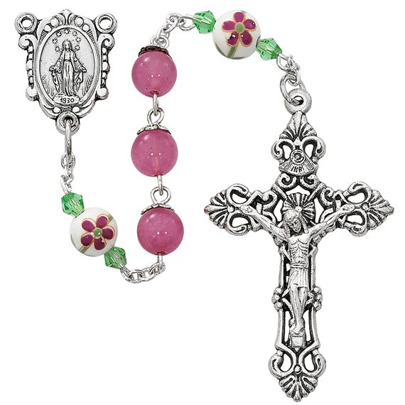 PINK ROSARY WITH CERAMIC FLOWER BEADS