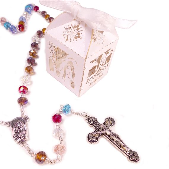 OUR LADY OF LOURDES ROSARY IN FANCY BOX