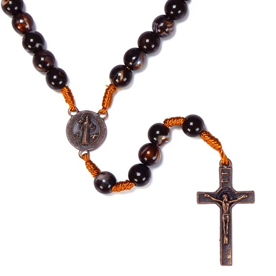 ST. BENEDICT ROSARY BROWN MARBLED BEAD
