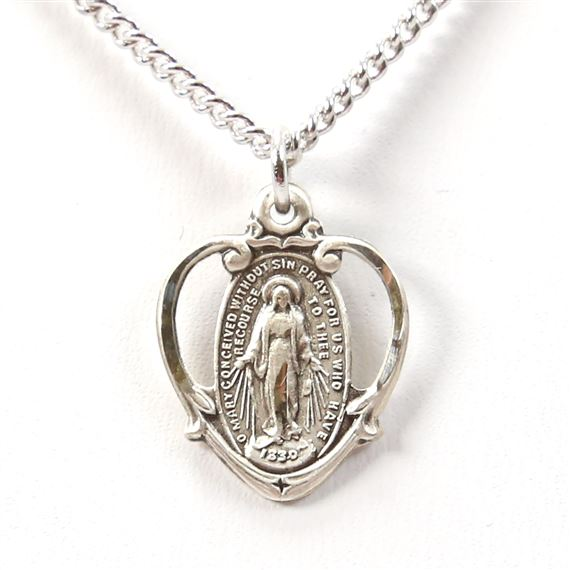 SILVER MIRACULOUS MEDAL IN HEART