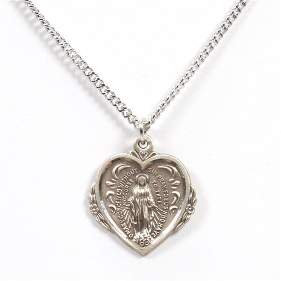 HEART SHAPED MIRACULOUS MEDAL - STERLING SILVER