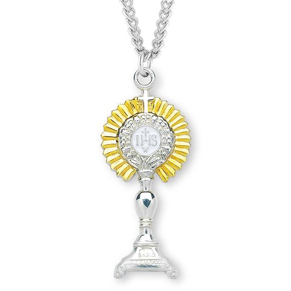 "1.7"" Sterling Two-Tone Monstrance Pendant with 24"" Chain"