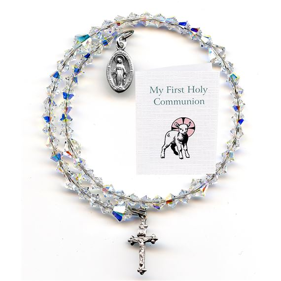 FIRST COMMUNION SWAROVSKI WRAP ROSARY BRACELET