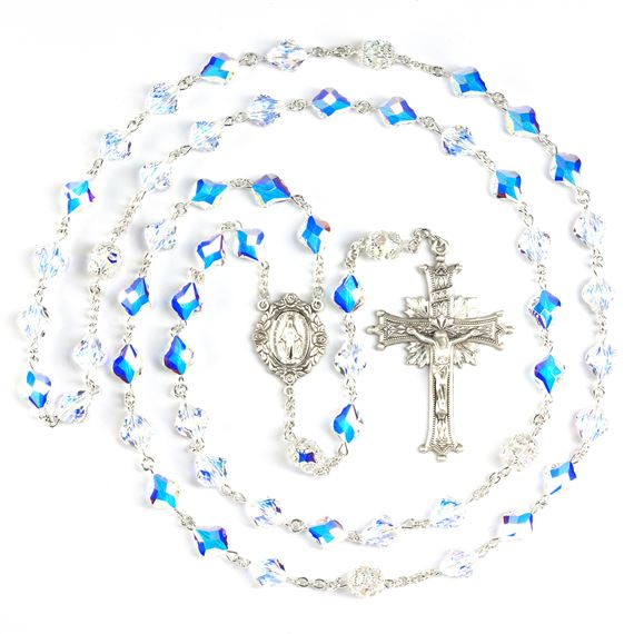 SWAROVSKI CRYSTAL ROSARY WITH BAROQUE BEADS