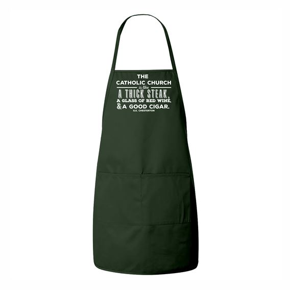 GREEN APRON WITH G.K. CHESTERTON QUOTE