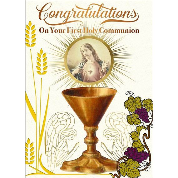 SACRED HEART CHALICE 1ST COMMUNION GREETING CARD