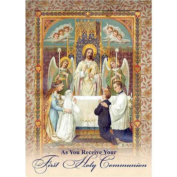 JESUS FIRST HOLY COMMUNION GREETING CARD