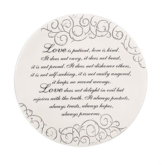 LOVE IS PATIENT WEDDING PLATE WITH EASEL