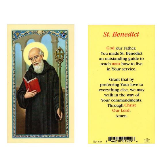 LAMINATED HOLY CARD - ST. BENEDICT