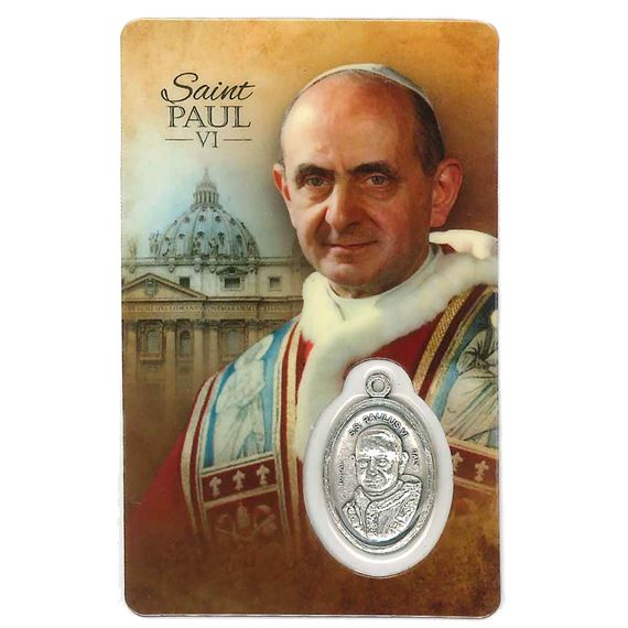 POPE ST. PAUL VI HOLY CARD WITH MEDAL