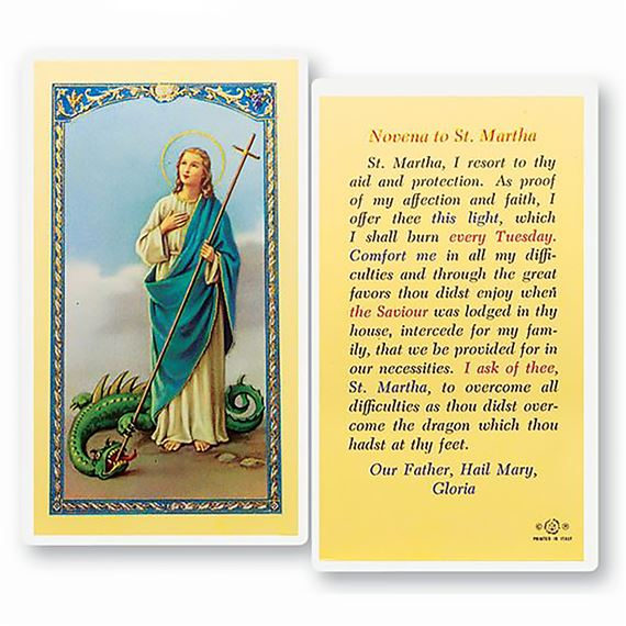LAMINATED HOLY CARD - NOVENA TO ST. MARTHA