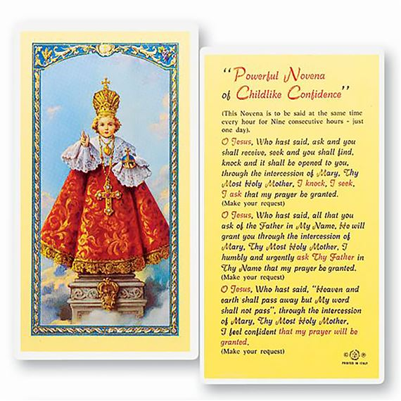 LAMINATED HOLY CARD - INFANT OF PRAGUE NOVENA