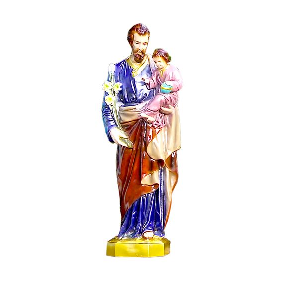 "ST. JOSEPH AND CHILD OUTDOOR STATUE - 24"" COLOR"