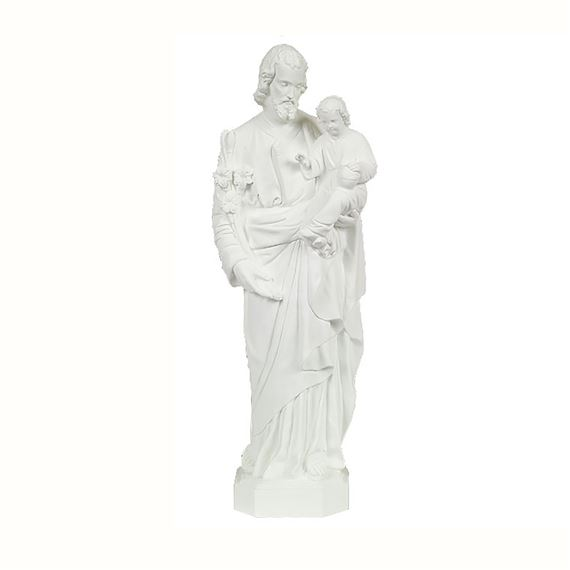 "ST. JOSEPH & CHILD OUTDOOR STATUE - 24"" WHITE"