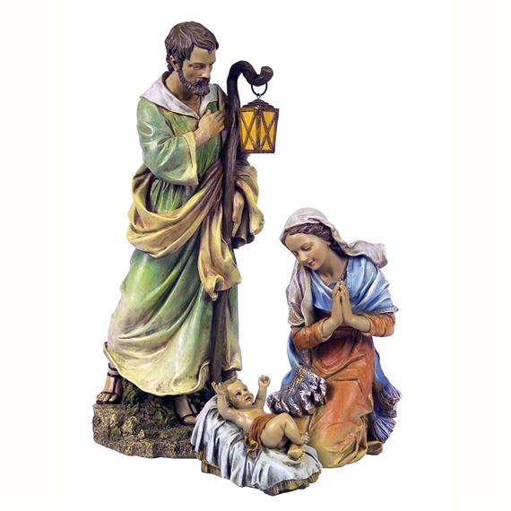 27- INCH PAINTED NATIVITY -  HOLY FAMILY - 3-PIECE SET