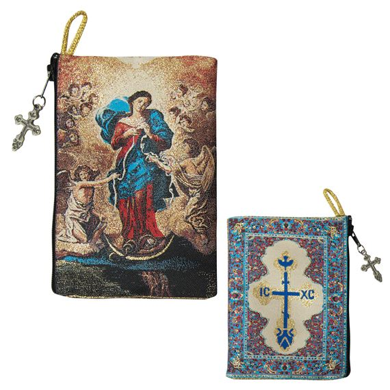 OUR LADY UNDOER OF KNOTS - TAPESTRY ROSARY POUCH
