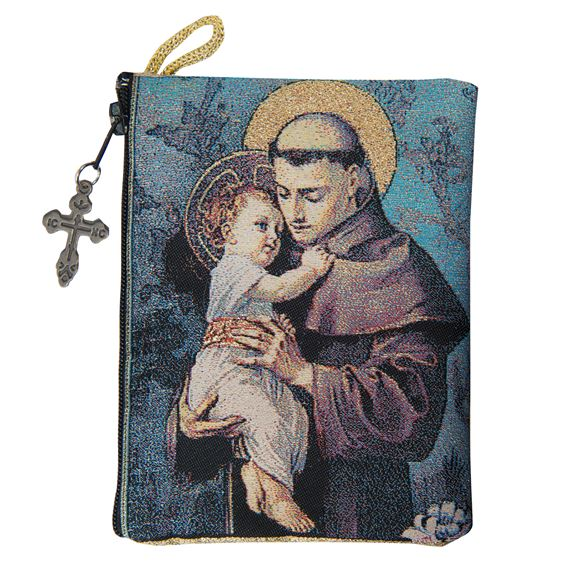 ST. ANTHONY - TAPESTRY ROSARY POUCH