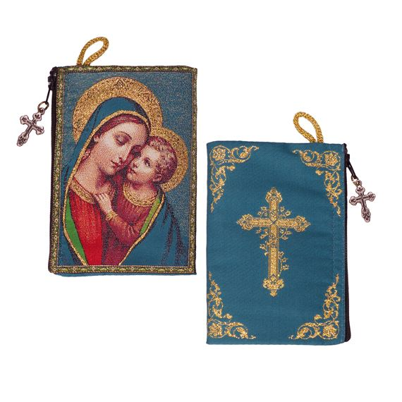 MADONNA AND CHILD ROSARY POUCH (JADE)