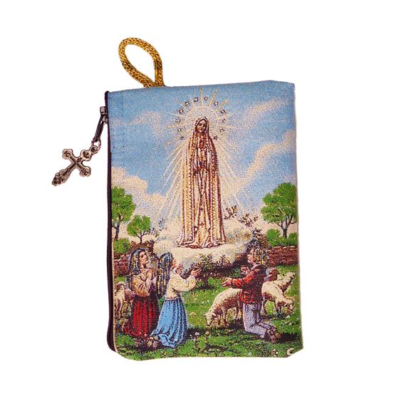 OUR LADY OF FATIMA TAPESTRY - ROSARY POUCH