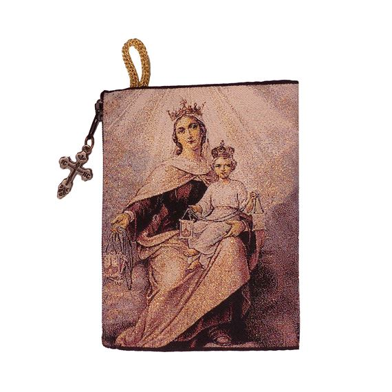 OUR LADY OF MOUNT CARMEL - TAPESTRY ROSARY POUCH