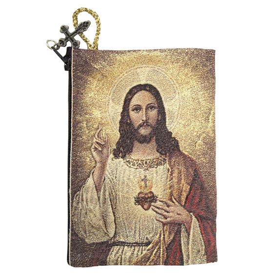 SACRED & IMMACULATE HEARTS ICON - ROSARY POUCH