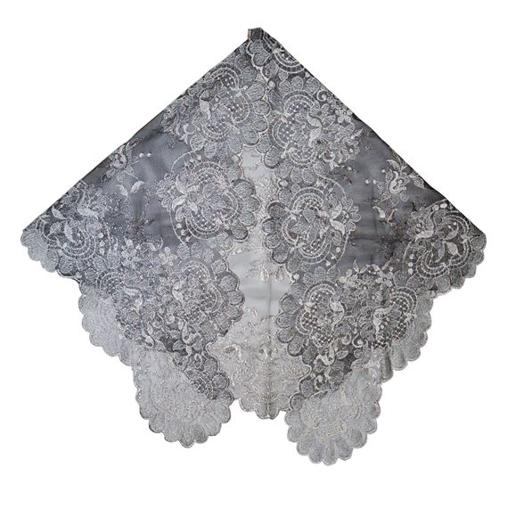 CHAPEL VEIL - BLACK WITH SILVER
