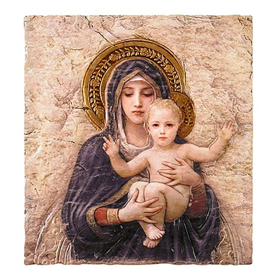 MADONNA AND CHILD PLAQUE - BOUGUEREAU