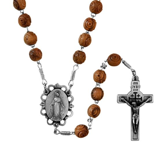 OLIVE WOOD ROSE BEAD ROSARY WITH JERUSALEM CRUCIFIX