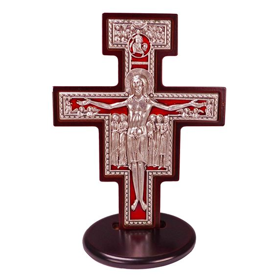 STANDING SAN DAMIANO CRUCIFIX WITH RED ENAMEL