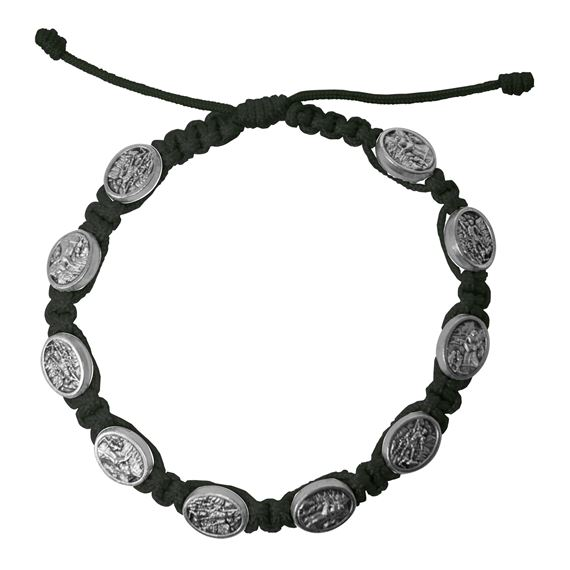 ST. MICHAEL CORDED BRACELET - BLACK