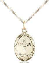 "14KT GOLD FILLED BAPTISM PENDANT WITH CHAIN - 3/4"" x 3/8"""