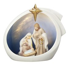 PORCELAIN HOLY FAMILY LIGHTED CRECHE