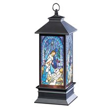 HOLY FAMILY STAINED GLASS LIGHTED SWIRL LANTERN