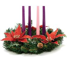 PINE ADVENT WREATH WITH RED POINSETTIAS