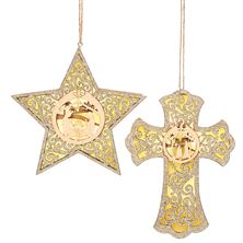 CROSS AND STAR LASER CUT LIGHTED ORNAMENTS (SET OF 2)