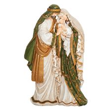 GREEN AND GOLD HOLY FAMILY STATUE