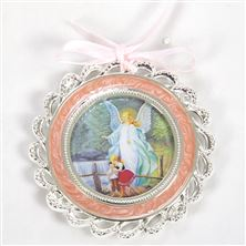 GUARDIAN ANGEL CRIB MEDAL - PINK