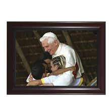 "POPE BENEDICT WITH CHILDREN IN CHERRY FRAME - 10"" x 7"""