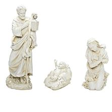WHITE OUTDOOR NATIVITY - HOLY FAMILY - 3-PIECE SET