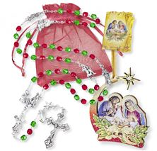 CHRISTMAS ROSARY GIFT SET - GREEN AND RED BEADS