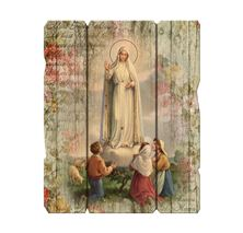 OUR LADY OF FATIMA VINTAGE WOOD PLAQUE (MEDIUM)