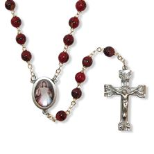 DARK RED BEAD DIVINE MERCY ROSARY