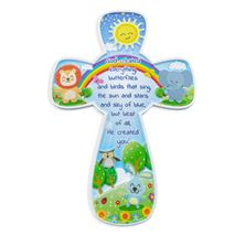 GOD CREATED EVERYTHING CHILDREN'S CROSS PLAQUE