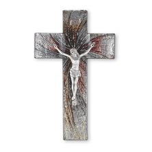 SHIMMERING SILVER GLASS CRUCIFIX WITH PEWTER CORPUS