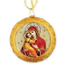 VIRGIN OF VLADIMIR ICON ORNAMENT - GOLD