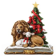 LION AND LAMB WITH CHRISTMAS TREE