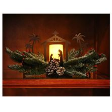 EVERGREEN TABLE PIECE WITH HOLY FAMILY CANDLE