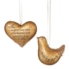 GOLD HEART AND DOVE ORNAMENT SET